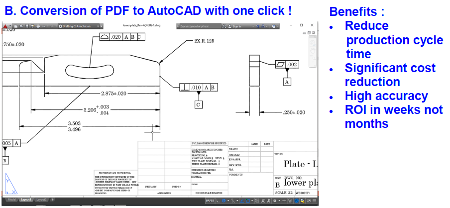 Convert PDF drawing to AutoCAD in one click – Blue Ocean